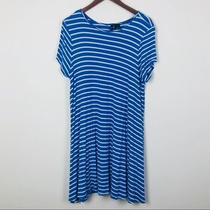 New Directions Blue and White Striped Swing Dress
